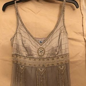 100% silk dress in silver!  Very good condition!